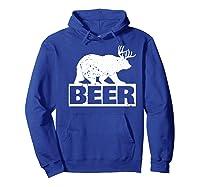 Beer Bear Plus Deer Equals Beer Funny Drinking Vintage Shirts Hoodie Royal Blue