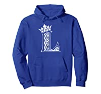 Alphabet Initial Letter L And King Queen Crown Shirts Hoodie Royal Blue