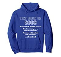 2002 18th Birthday Gift For 18 Year Old Girls Shirts Hoodie Royal Blue