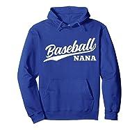 Baseball Nana 1970s Retro Cursive Font Dark Shirts Hoodie Royal Blue