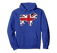 Union Jack English Bulldog Distressed Flag Uk Novelty Gift Shirts Hoodie Royal Blue