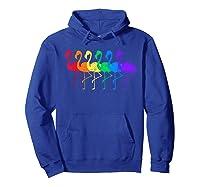 Distressed Flamingo Rainbow Lgbtq Pride T-shirt Hoodie Royal Blue