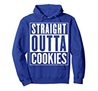 Straight Outta Cookies Distressed Vintage Funny Shirts Hoodie Royal Blue