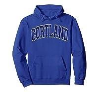 Cortland Varsity Style Navy Blue Text Shirts Hoodie Royal Blue