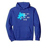 Autism Awareness Shirt I Am His Voice He Is My Heart Puzzle Hoodie Royal Blue