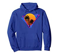 80s Style Synthwave Retrowave Aesthetic Palm Tree Sunset Shirts Hoodie Royal Blue
