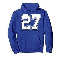Number 27 Football Baseball Soccer Uniform T Shirt Hoodie Royal Blue