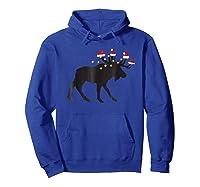 Moose Christmas Pajama Shirts Hoodie Royal Blue