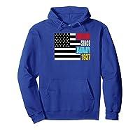 Awesome Since January 1937 Birthday Gift Usa Flag Retro Shirts Hoodie Royal Blue