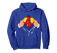 4 Year Old Superhero Birthday Party Super Hero 4th Gift Shirts Hoodie Royal Blue