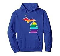 Rainbow Michigan Gay Pride Flag Vintage Shirts Hoodie Royal Blue
