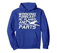 Rc Plane T-shirt For Guys Rc Planes And Scattered Parts Hoodie Royal Blue