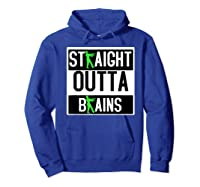 Straight Out Of Brains Funny Zombie Halloween Shirts Hoodie Royal Blue