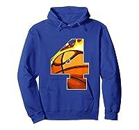 Number 4 Basketball Gift T-shirt Hoodie Royal Blue