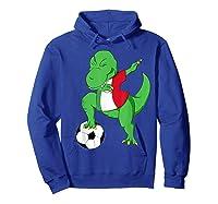 Dabbing Soccer T-rex Mexico Shirt - Mexican Football Hoodie Royal Blue