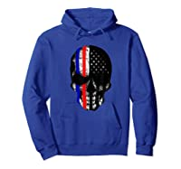 Patriot Skull Usa Flag Halloween Hunter Us Skeleton Head T-shirt Hoodie Royal Blue