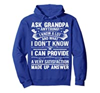Ask Grandpa Anything Fathers Day Funny Gift T-shirt Hoodie Royal Blue