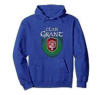 Grant Surname Scottish Clan Tartan Shield Badge Tshirt Hoodie Royal Blue