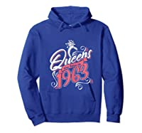Queens Are Born In 1963 Bday Flamingo Gifts 57th Birthday T-shirt Hoodie Royal Blue