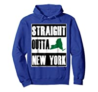 Straight Outta New York Funny Ny Shirts Hoodie Royal Blue