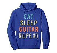 Retro Eat Sleep Guitar Repea Player Tea Rock Band Shirts Hoodie Royal Blue