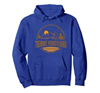 Vintage Tremont, Pennsylvania Mountain Hiking Print Shirts Hoodie Royal Blue