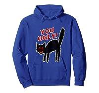 Funny Halloween Scary Black Cat Horror Gift Creepy Black Cat Shirts Hoodie Royal Blue