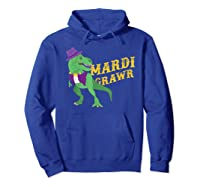 Mardi Grawr T Rex Dinosaur Mardi Gras Bead T Shirt T-shirt Hoodie Royal Blue