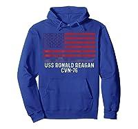 Ronald Reagan Cvn 76 Aircraft Carrier Vintage Usa Flag Shirts Hoodie Royal Blue
