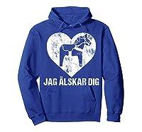 Scandinavian Valentine's Day Dala Horse Jag Alskar Dig Shirts Hoodie Royal Blue