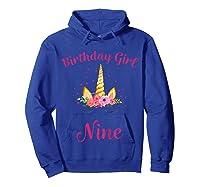 9th Birthday Girl Unicorn Shirt 9th Birthday Out Hoodie Royal Blue
