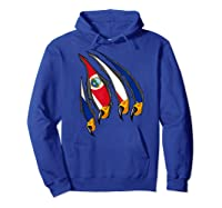Costa Rica Patriotic American Eagle Claws Costa Rican Flag T-shirt Hoodie Royal Blue
