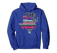 Texas Girl State Silhouette Serape T-shirt Hoodie Royal Blue