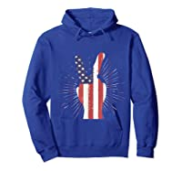 Peace American Flag Funny Gift 4th Of July Shirt Hoodie Royal Blue