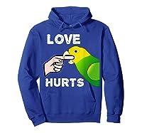 Love Hurts Yellow Head Amazon Parrot Biting Finger Shirts Hoodie Royal Blue