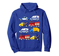 Emergency Vehicles Fire Truck Police Car Ambulance Tow Truck Shirts Hoodie Royal Blue