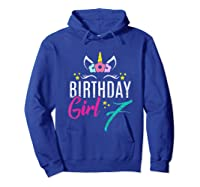 Birthday Girl 7 Year Old Gift Cute Unicorn Face 7th Bday T-shirt Hoodie Royal Blue