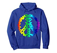 Butterflies Peace Sign Love Butterfly 60s Retro Hippie Gift T-shirt Hoodie Royal Blue
