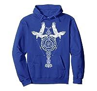 Odins Ravens Huginn & Muninn Vegvisir Tshirt Mjolnir Valknut Hoodie Royal Blue