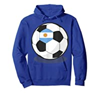 Argentinian Flag On Soccer Ball   Argentina Football Shirts Hoodie Royal Blue