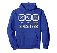 Eat Sleep Cycling Since 1988 T-shirt 30th Birthday Gift Tee Hoodie Royal Blue