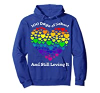Funny 100th Day Of School Tea Heart Valentine Day Shirts Hoodie Royal Blue