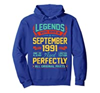 Legends Were Born In September 1991 29th Birthday Gifts Shirts Hoodie Royal Blue