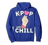 K Pop And Chill Finger Heart Korean Kpop Merchandise Shirts Hoodie Royal Blue