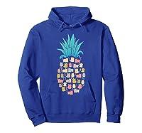 Summer Hawaii Pineapple Cat Kawaii Neko Aloha Hawaiian Shirts Hoodie Royal Blue