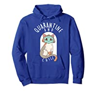 Quarantine And Chill Cat Face Mask T-shirt Hoodie Royal Blue