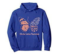Uterine Cancer Being Strong Is The Only Choice Butterfly Shirts Hoodie Royal Blue