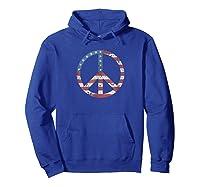 Peace Vintage American Flag Shirts Hoodie Royal Blue