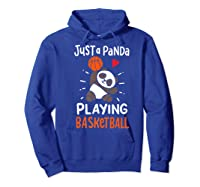 Basketball Panda Premium T-shirt Hoodie Royal Blue