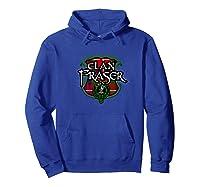 Fraser Surname Scottish Clan Tartan Shield Badge Shirts Hoodie Royal Blue